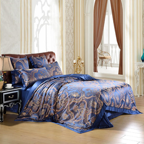 Luxury Silk and Shine Bedding Set Pure Lux Blue