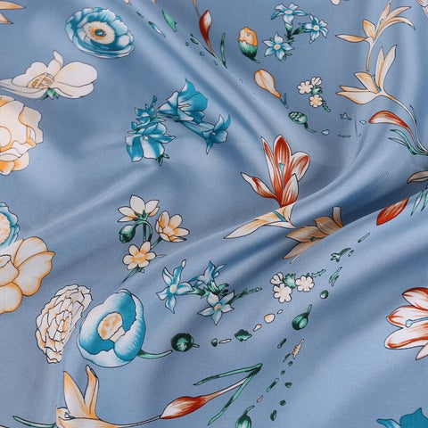 Vshine Silk and Shine Large Square Twill Silk Scarf Spring Blossom Blue