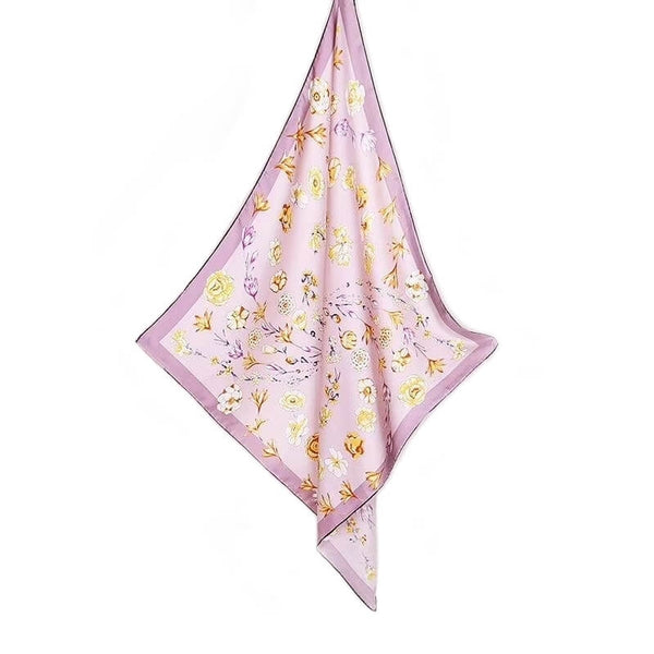 Vshine Silk and Shine Large Square Twill Silk Scarf Spring Blossom Pink