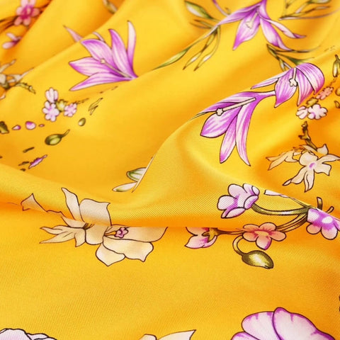Large Square Twill Silk Scarf Spring Blossom Yellow