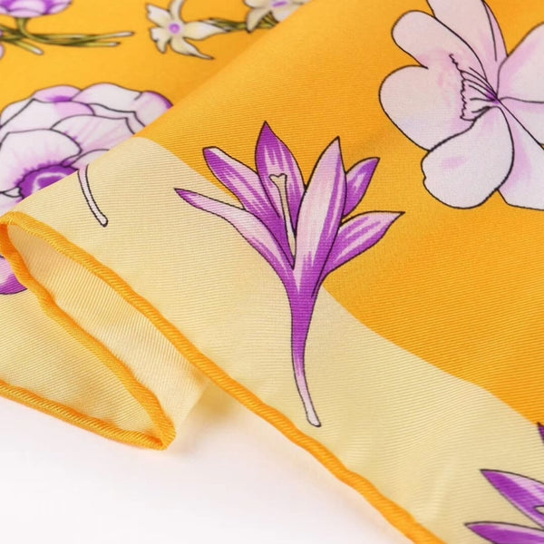 Large Square Silk Scarf Spring Blossom Yellow