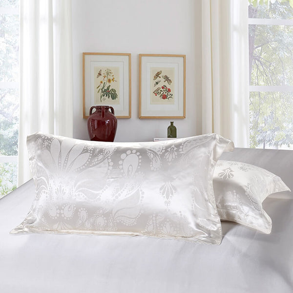Luxury Silk and Shine Bedding Set Pure Lux Snow White