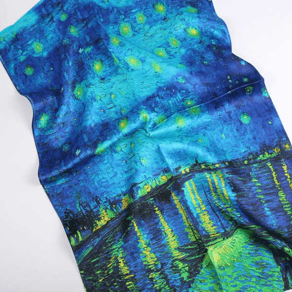 Vshine Silk and Shine Fashion Accessories|Silk Scarf Collecitons|Blossom Range|Starry Night|Blue|Long Silk Scarf