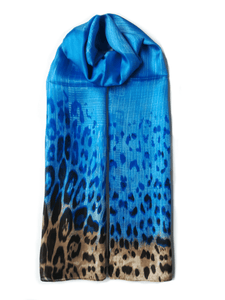 Large Silk Scarf Leopard Blue - Vshine Silk and Shine Fashion Accessories
