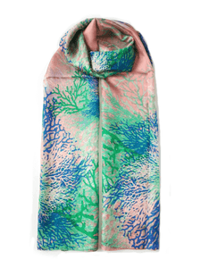 Large Silk Scarf Coral Green - Vshine Silk and Shine Fashion Accessories