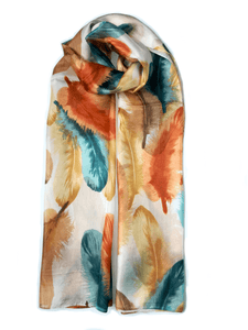 Large Silk Scarf Feather Brown - Vshine Silk and Shine Fashion Accessories