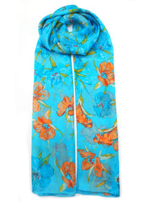 large silk scarf iris blue and orange - Vshine Silk and Shine Fashion Accessories