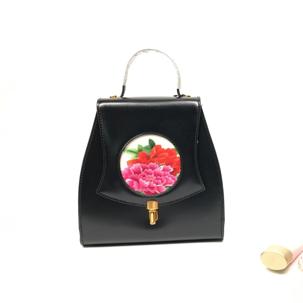 Vshine Silk and Shine Silk embroidery handbag small peony