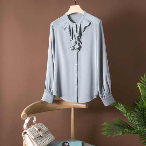 Pure Silk Long Sleeve Shirt with Frill Grey