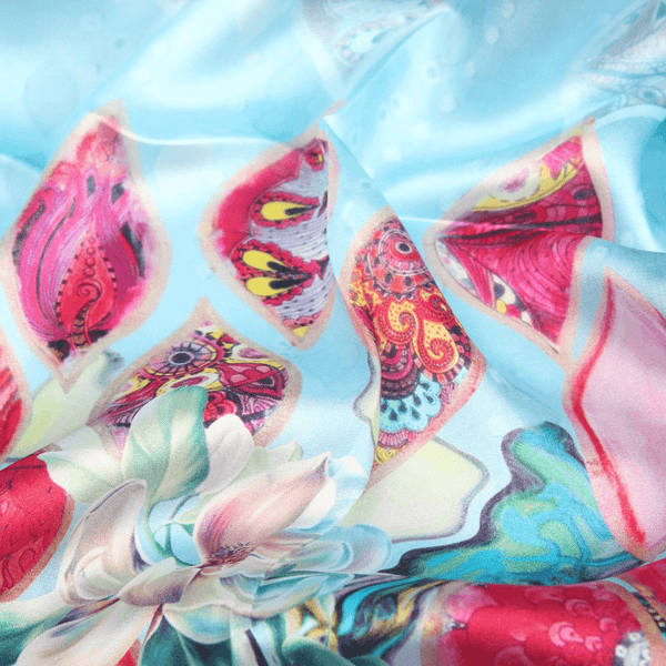 Vshine Silk and Shine Fashion Accessories|Silk Scarf Collections|Blossom Range|Tropical Sea design|Blue|Long Silk Scarf
