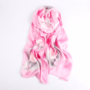 Vshine Silk and Shine Fashion Accessories|Silk Scarf Collections|Blossom Range|Tulip Design|Pink|Long Silk Scarf