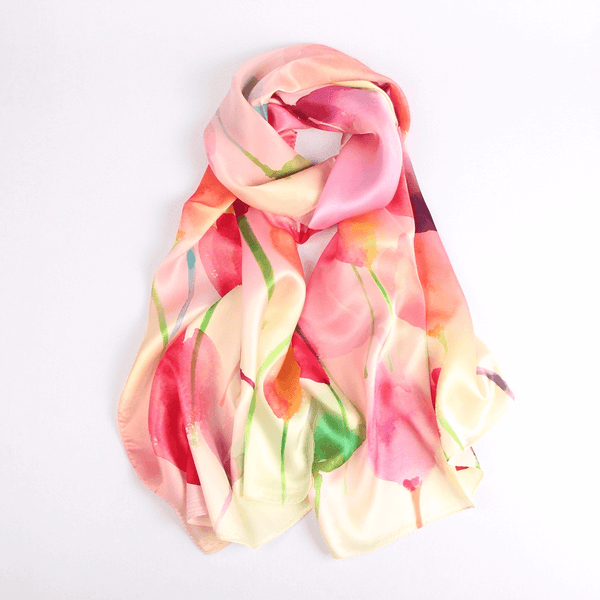 Vshine Silk and Shine Fashion Accessories|Silk Scarf Collecitons|Blossom Range|Tulip Design|Red|Long Silk Scarf