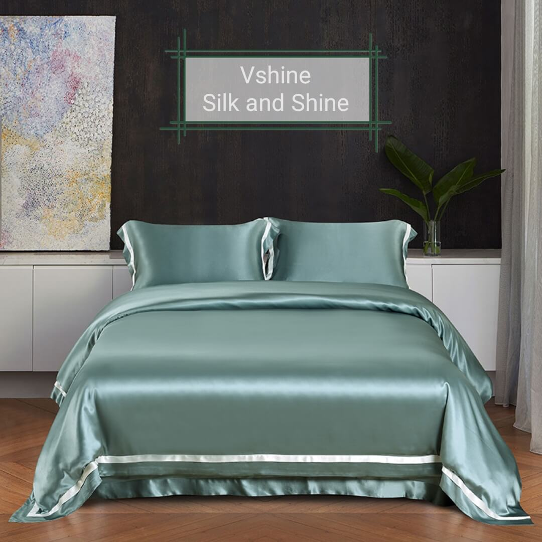 Luxury Silk and Shine Bedding Set Pure Lux Neutral Tone Duckegg