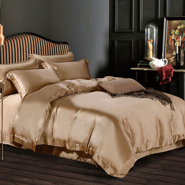 Luxury Silk and Shine Bedding Set Pure Lux Neutral Hue Gold