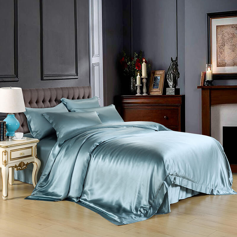 Luxury Silk and Shine Bedding Set Pure Lux Neutral Hue Pastel Green –  Vshine Silk and Shine