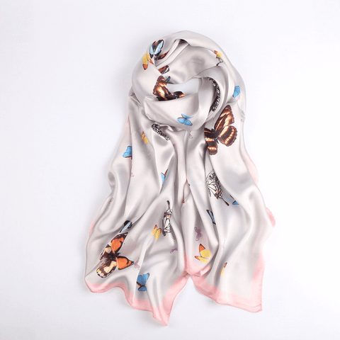 Vshine Silk and Shine Fashion Accessories|Silk Scarf Collections|Blossom Range|Butterfly Design|Silver|Long Silk Scarf