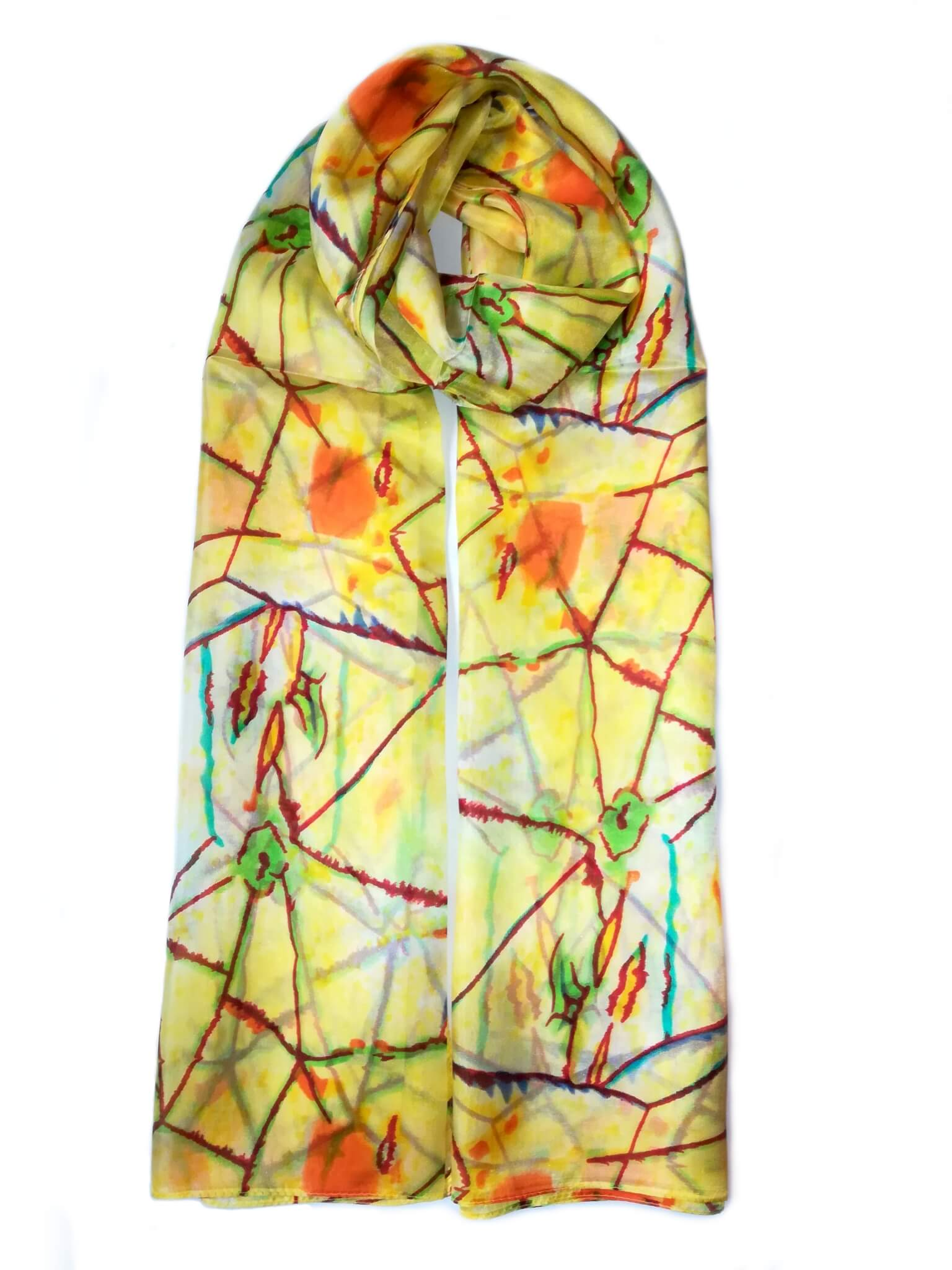 Rainbow| Large Silk Scarf Power of Web Yellow - Vshine Silk and Shine Fashion Accessories