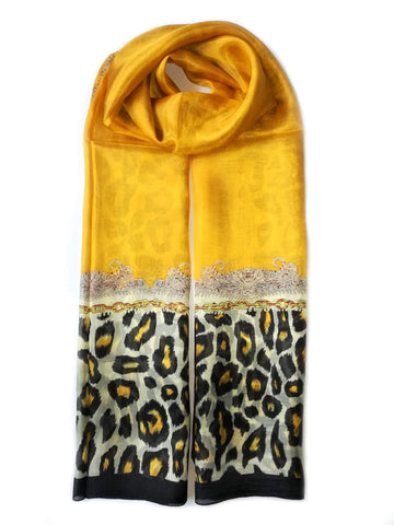 Large Silk Scarf Leopard Yellow - Vshine Silk and Shine Fashion Accessories