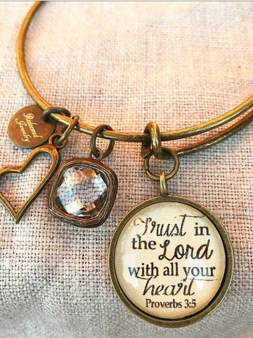 Trust in the Lord Bronze Bangle Bracelet