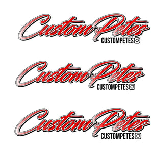 "Custom Petes Sticker 8"" 3 Pack (Red)"