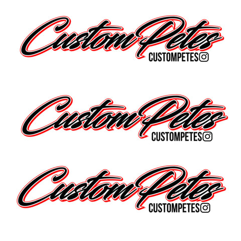 "Custom Petes Sticker 8"" 3 Pack (Black and Red)"