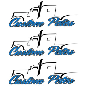 Custom Pete Truck Sticker (Blue) 3 Pack