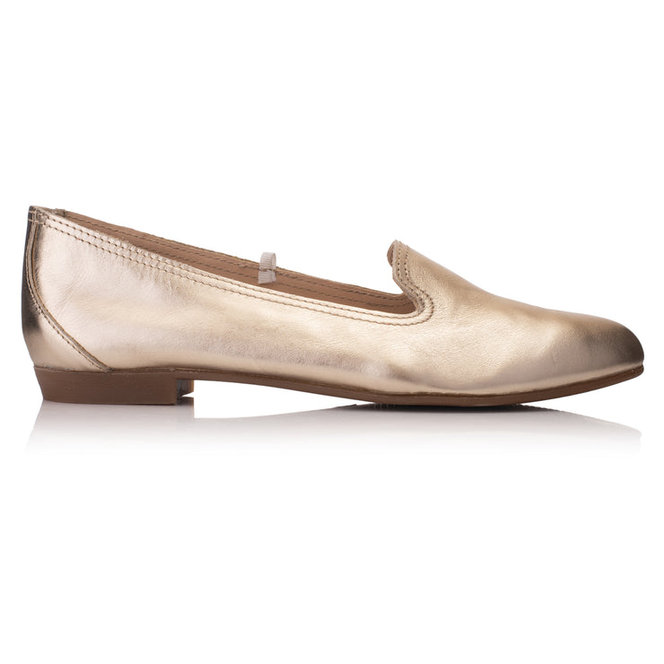 Balerini piele auriu metalizat casual femei * Omnio Prep Plain Loafer Gold Leather vedere din lateral