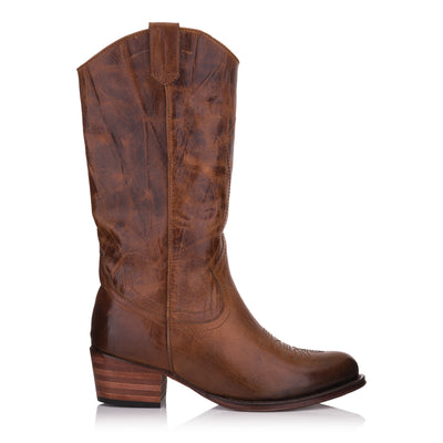Cizme maro piele casual femei/damă * Omnio Dulce Mid Boot Tan Leather Pull Up vedere din lateral