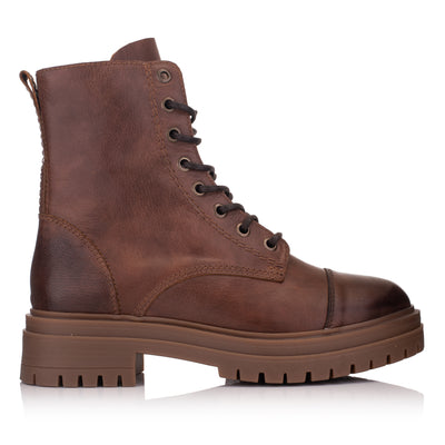 Ghete piele maro femei casual - Omnio Leyton Combat Mid Cognac Leather imagine din lateral