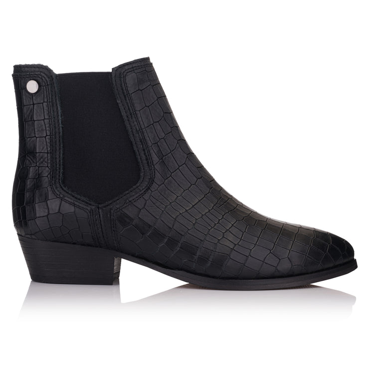 ghete femei business casual piele croco negre Omnio Giselle Chelsea High imagine din lateral