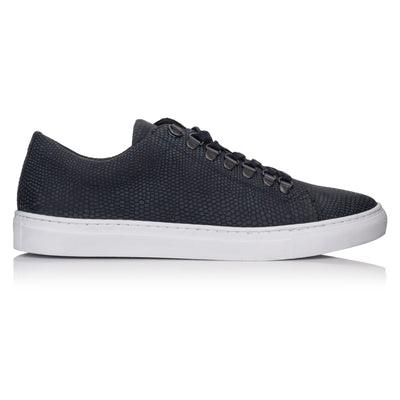 pantofi sport casual sneaker piele bleumarin navy Omnio Velo Eco Dark Blue Embossed Leather imagine din lateral