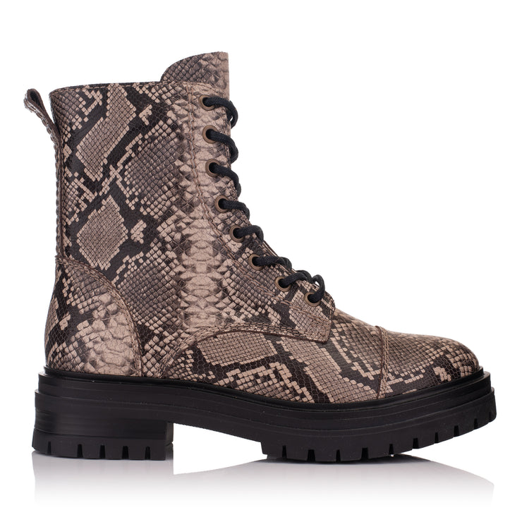 Ghete piele maro femei/damă casual Leyton Combat Mid Lt Taupe Leather Snake vedere din lateral