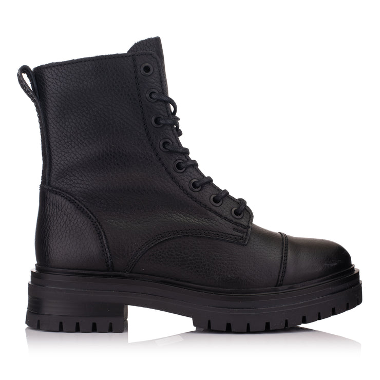 Ghete negre femei casual piele - Omnio Leyton Combat Mid Black Leather imagine din lateral