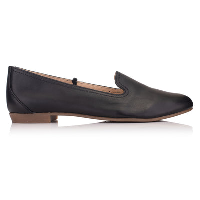 Balerini piele negri casual femei * Omnio Prep Plain Loafer Black Leather vedere din lateral