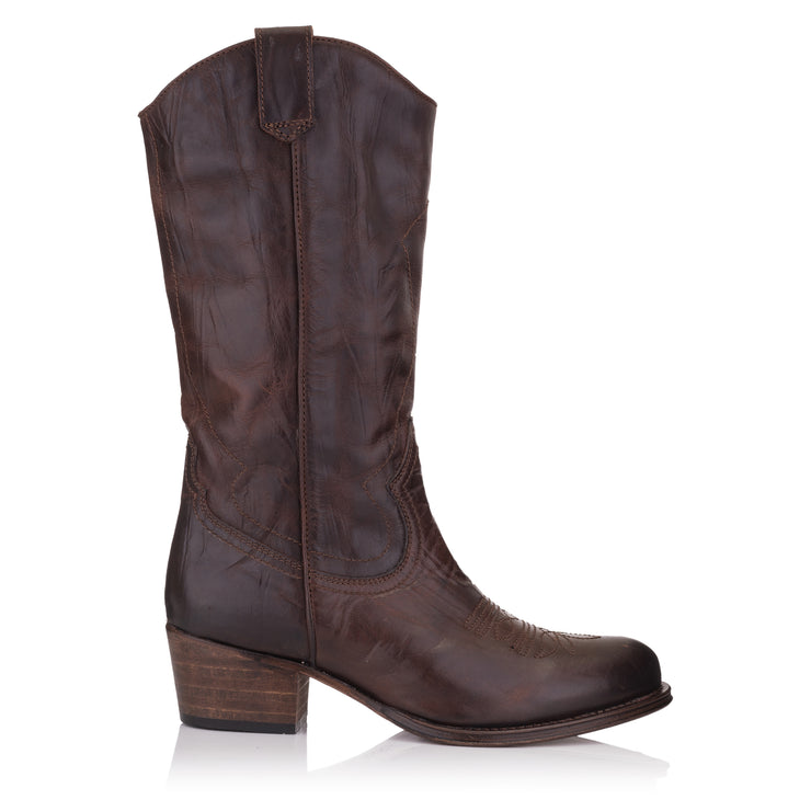 Cizme negre piele casual femei/damă Omnio Dulce Mid Boot Brown Leather vedere din lateral