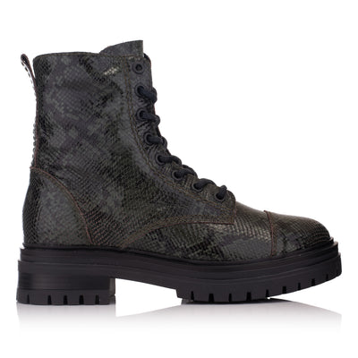 Ghete negre piele casual femei/damă Omnio Leyton Combat Mid Bottle Leather Snake vedere din lateral