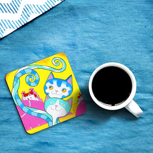 'Fetching' Love Cats Coasters