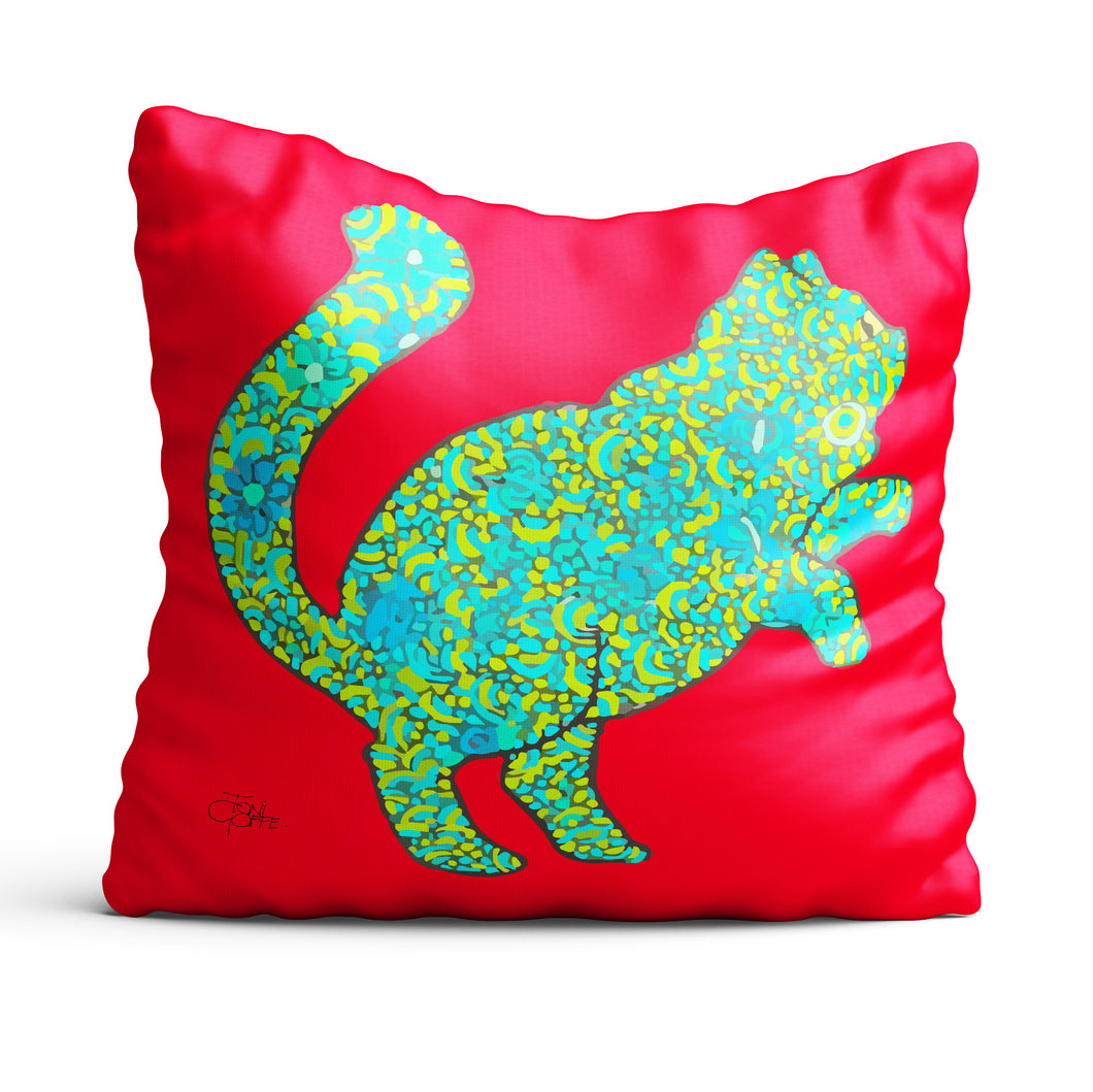 Blue Floral Cat Cushion
