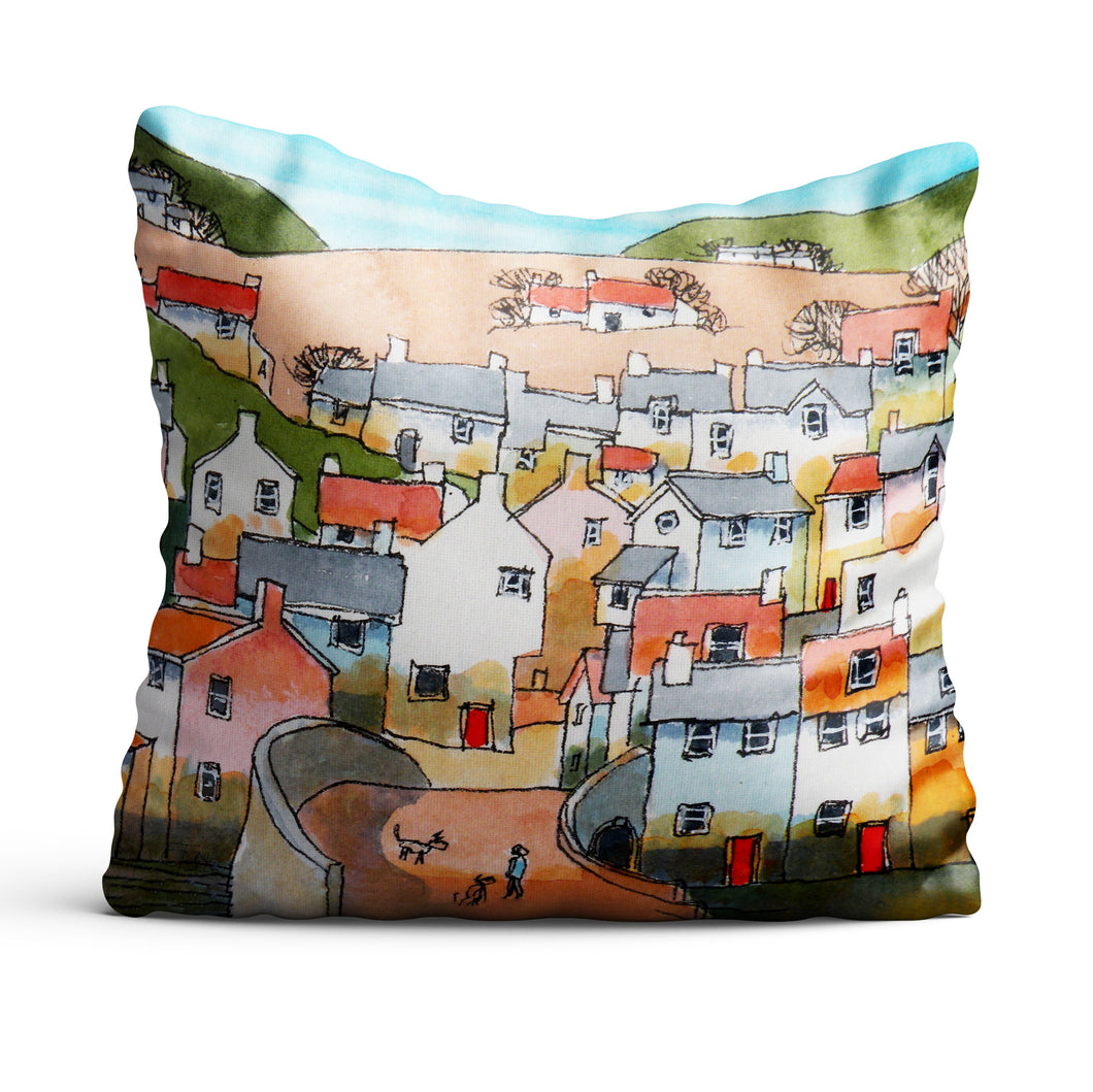 The Morning Dog Walk cushion