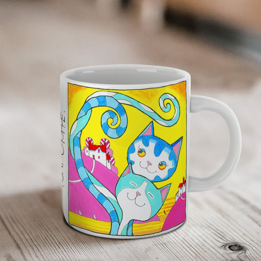 'Fetching' Love Cats Ceramic Mug