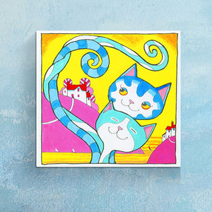 'Fetching' Love Cats Canvas