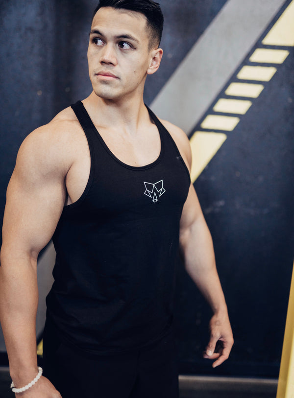 Iconic Mens Black Stringer Tank Top