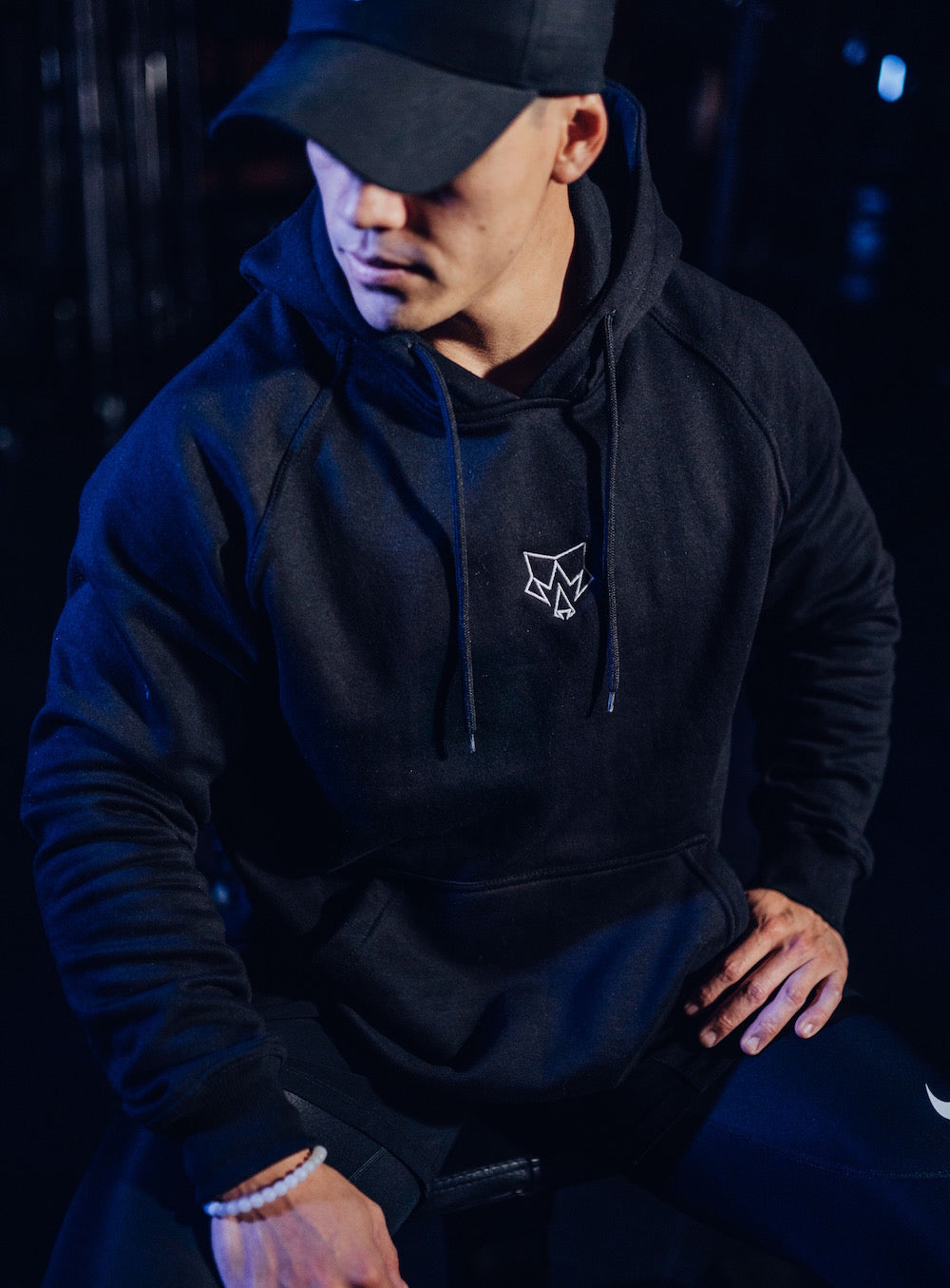 Iconic Mens Black Embroidered Hoodie