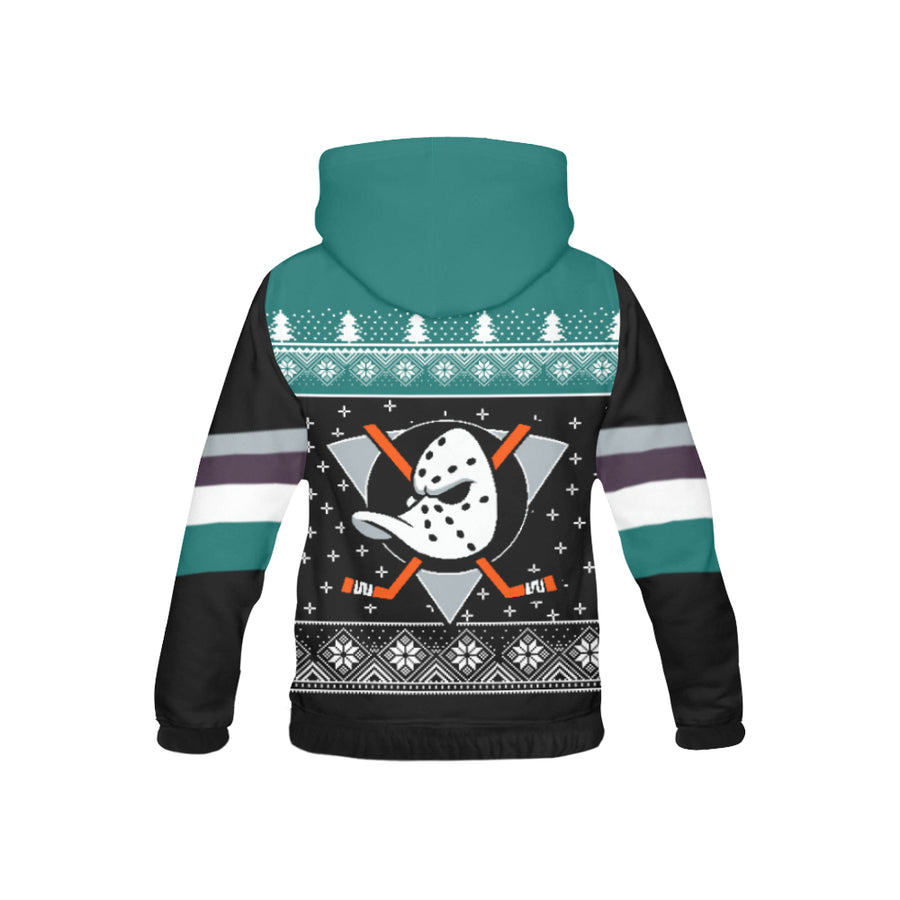 Anaheim Ducks - Ugly Christmas Kids Hoodie, Kids Zip Hoodie