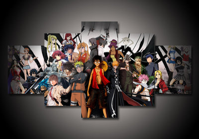 5-Piece Canvas Wall Art - All Anime Characters (2 Styles) - TheSevenShop