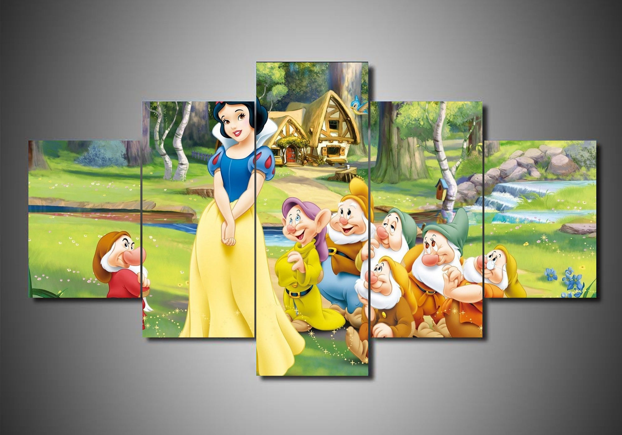 Snow White and The Seven Dwarfs (3 Styles) - 5-Piece Canvas Wall Art ...