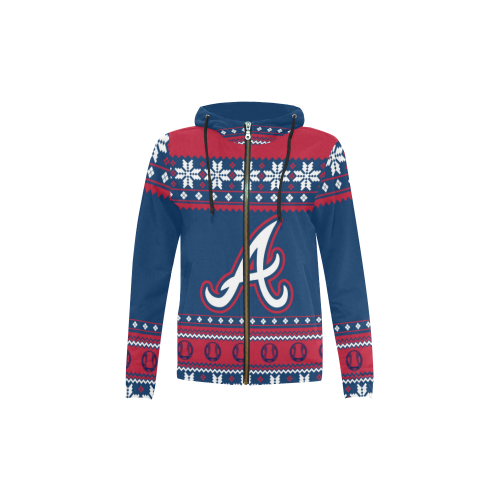 Atlanta Braves - Ugly Christmas Kids Hoodie, Kids Zip Hoodie