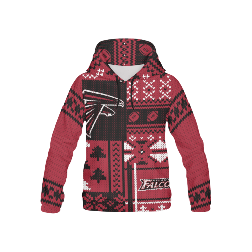 Atlanta Falcons - Ugly Christmas Kids Hoodie, Kids Zip Hoodie