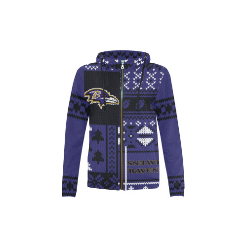 Baltimore Ravens - Ugly Christmas Kids Hoodie, Kids Zip Hoodie