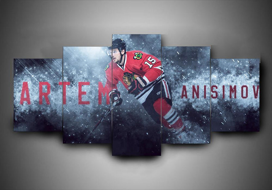 Chicago Blackhawks - Artem Anisimov - 5-Piece Canvas Wall Art - MyStorify